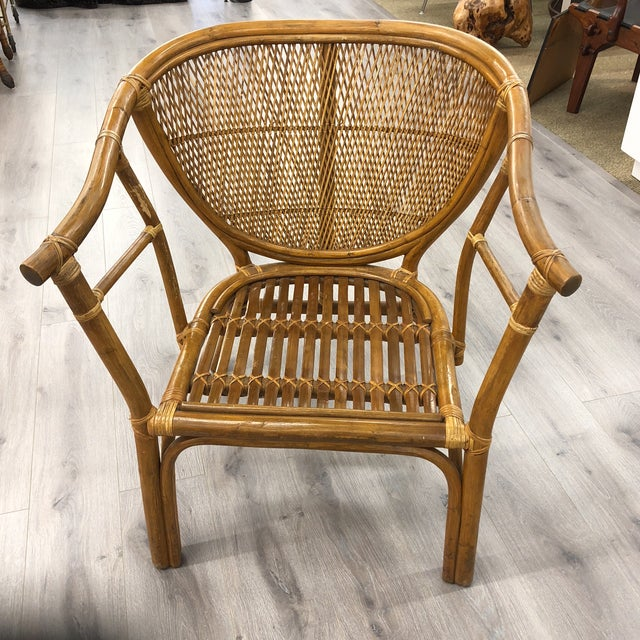 4 Vintage Midcentury Rattan Chairs For Sale - Image 9 of 9