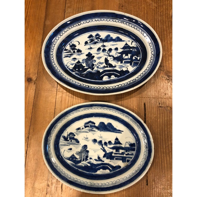 Early 21st Century Canton Blue & White Serving Platters - a Pair For Sale - Image 5 of 5
