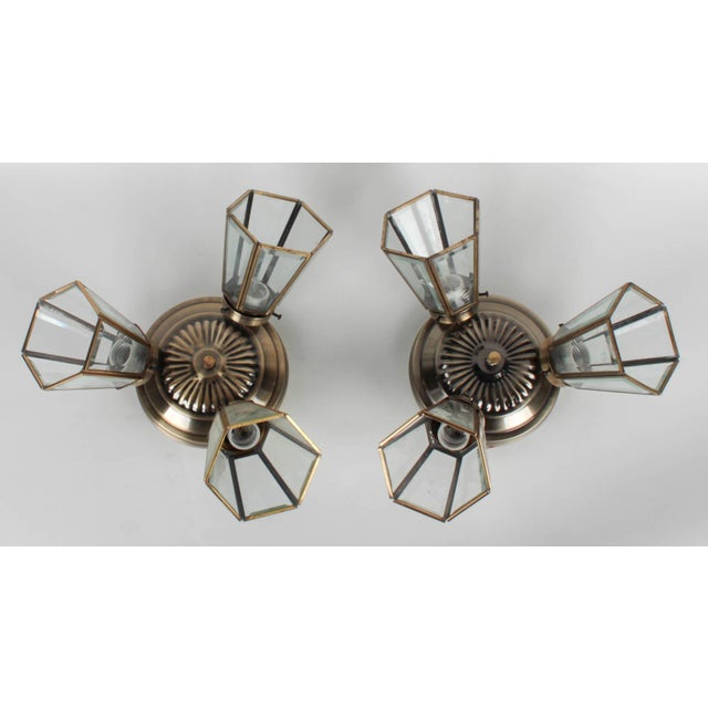 Hollywood Regency Pair of 3-Lamp Brass Ceiling Fixtures With Glass Shades For Sale - Image 3 of 7