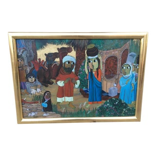 Bright Wide Eyed Middle Eastern Village Oil Painting