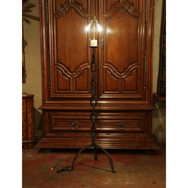 Tall 19th Century French Black Forged Iron Anchor Rope Floor Lamp For Sale In Dallas - Image 6 of 12