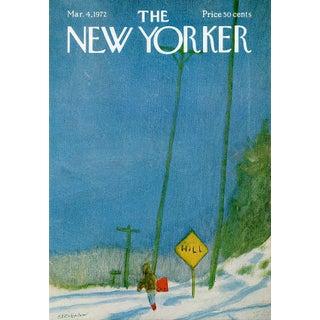 Vintage 1972 New Yorker Cover, March 4 (James Stevenson), Winter, Sledding For Sale