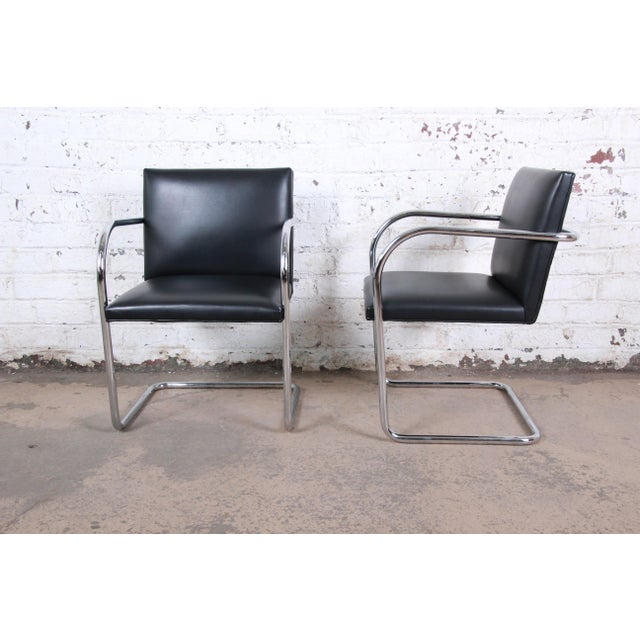 2000 - 2009 Mies Van Der Rohe for Knoll Black Leather and Chrome Brno Chairs - Set of 6 For Sale - Image 5 of 13