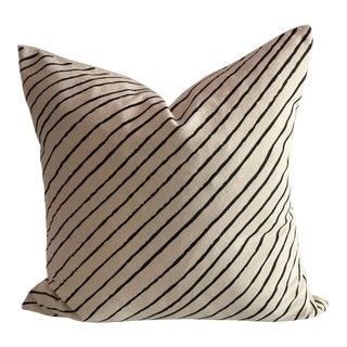 Boho Chic Diagonal Stripe Organic Cotton Pillow For Sale