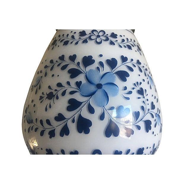 Mid-Century Modern Mid Century Milk Glass Floral Flush Light For Sale - Image 3 of 9