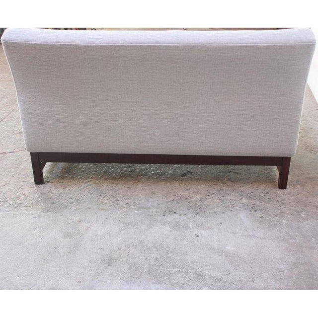 Green Danish Modern Chenille & Rosewood Settee For Sale - Image 8 of 11