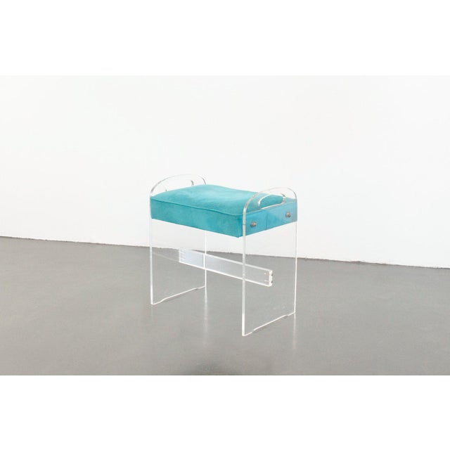 Textile Late 20th Century Vintage Lucite Stool For Sale - Image 7 of 7