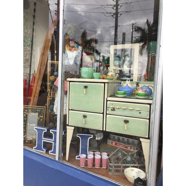 Antique Art Deco Jadite Green Enamel Stove For Sale - Image 9 of 11