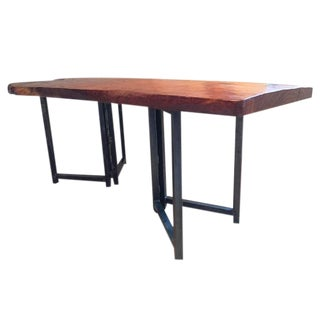 Cabin Hand-Crafted Teak Slab Dining Table For Sale