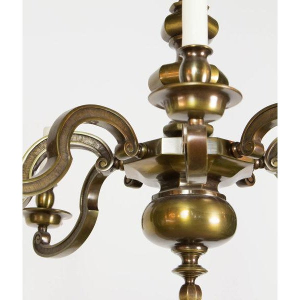 Early 20th Century Eight Light Antique Brass Chandelier For Sale - Image 5 of 9