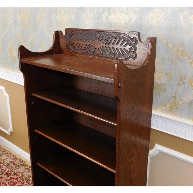 Antique 1920's Art-Nouveau Oak Bookcase - Image 5 of 7