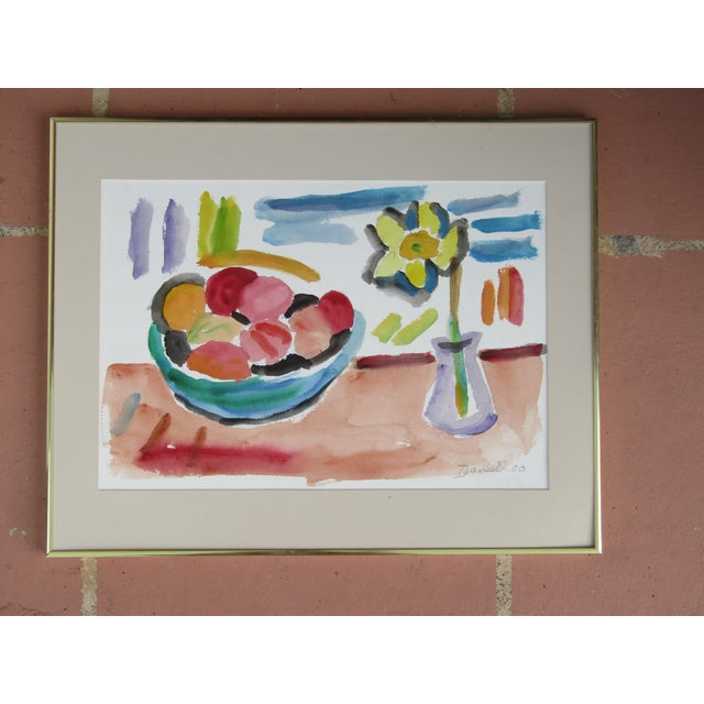 "George Daniell ""Flowers & Fruit"" Still Life Watercolor - Image 2 of 5"