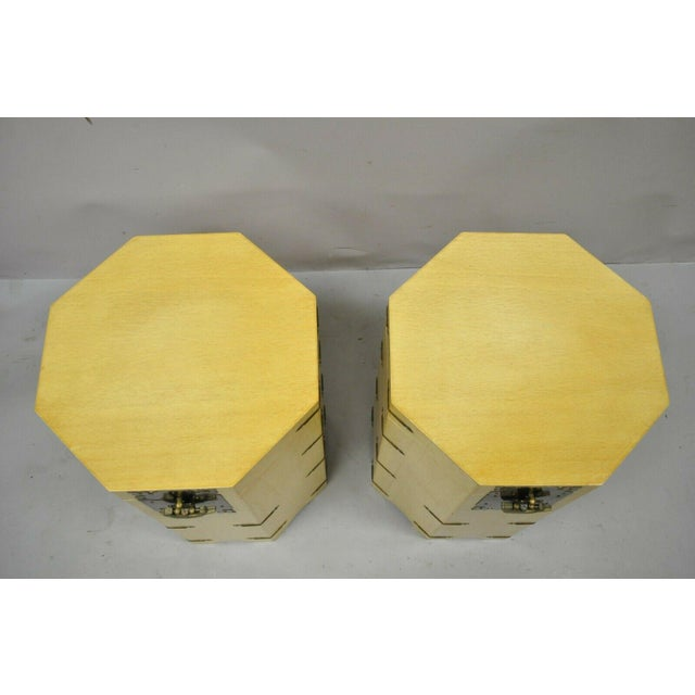 Mid 20th Century Vtg Cerused Mahogany Chinese Storage Chest Trunk Octagonal Side Tables - a Pair For Sale - Image 5 of 13