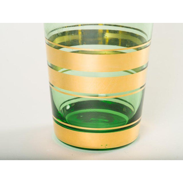 1950s Mid-Century Modern Blown Glass Vase With 24-Karat Gold Details For Sale - Image 5 of 6