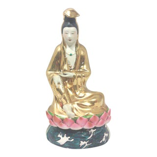 Chinoiserie Gilt Buddha Statue in Fine Porcelain