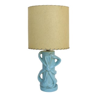 Mid-Century Modern Glazed Ceramic Table Lamp W/ a Laced Shade
