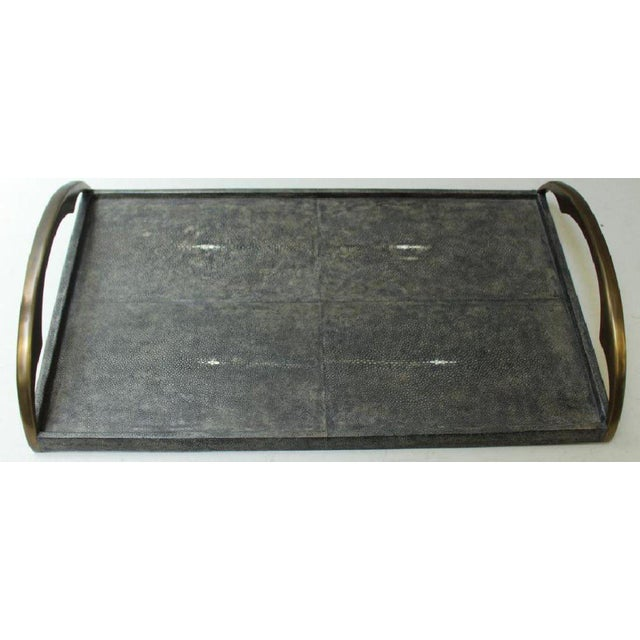 1980s R & Y Augousti Shagreen Stingray Tray For Sale - Image 5 of 5