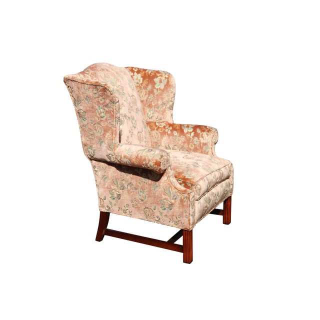 Chippendale Floral Wingback Chairs in Blush - a Pair For Sale - Image 3 of 8