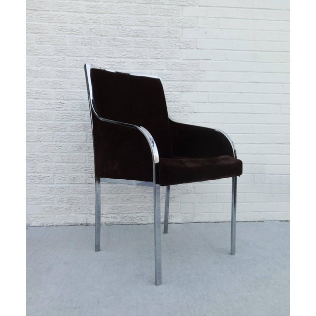 1970s beautiful set of six chrome frame dining chairs by Dillingham in the style of Milo Baughman are ready to be...