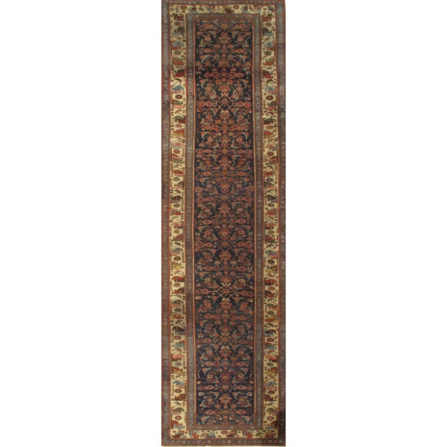 "Pasargad Antique Persian Bidjar Hand-Knotted Runner Rug - 4'3"" X 16'3"" For Sale"