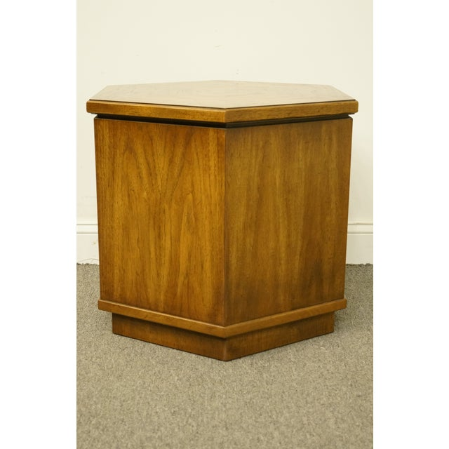 Brown 20th Century Campaign Drexel Heritage Accolade II Collection Hexagonal Storage Cabinet For Sale - Image 8 of 11