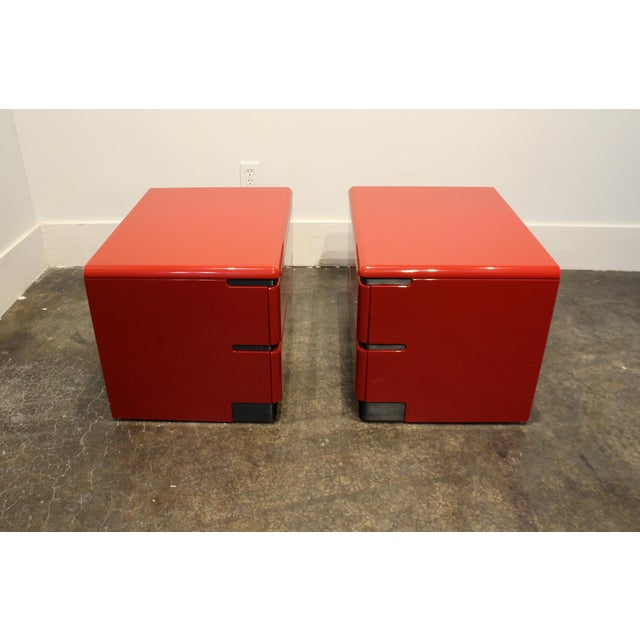 Rougier 80s Modern Cherry Red Lacquered Nightstands by Roger Rougier For Sale - Image 4 of 11