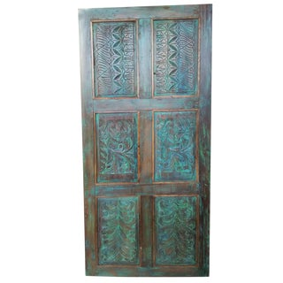 Antique Teal Blue Old Wooden Door Front Door Panel For Sale