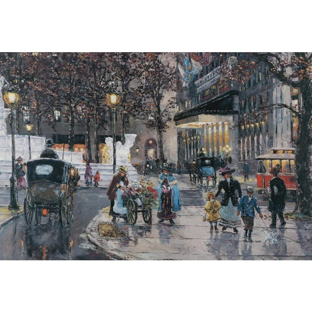 Offset lithograph on paper after a painting of a (European?) street scene by listed artist Robert Lebron. This imagery of...