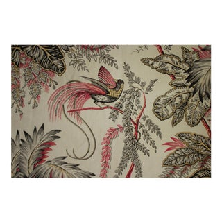 French Exotic Bird And Floral Printed Curtain For Sale
