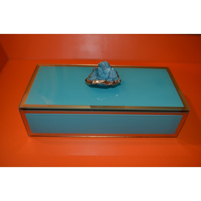 Turquoise Geode Glass Trinket Box For Sale - Image 4 of 8