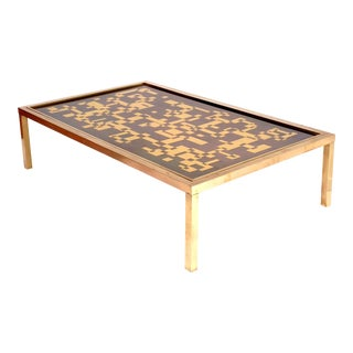 Coffee Table Brass, Graphic Pattern With Two Patinas Signed by Willy Daro Belgium 1975