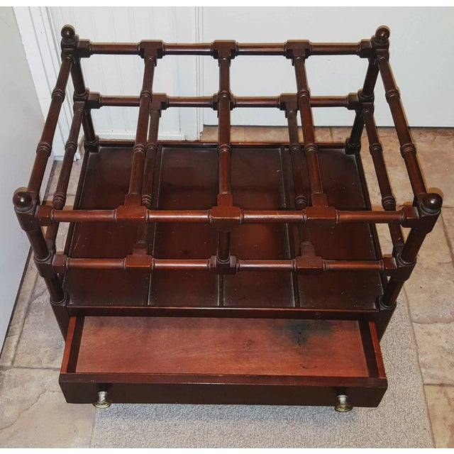 Chippendale 1920s Vintage Chippendale Style Mahogany Canterbury Magazine Rack For Sale - Image 3 of 6