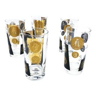 Vintage Mid-Century Highball 22 Karat Gold Coin Design Barware Glasses by Cera - Set of 5 For Sale