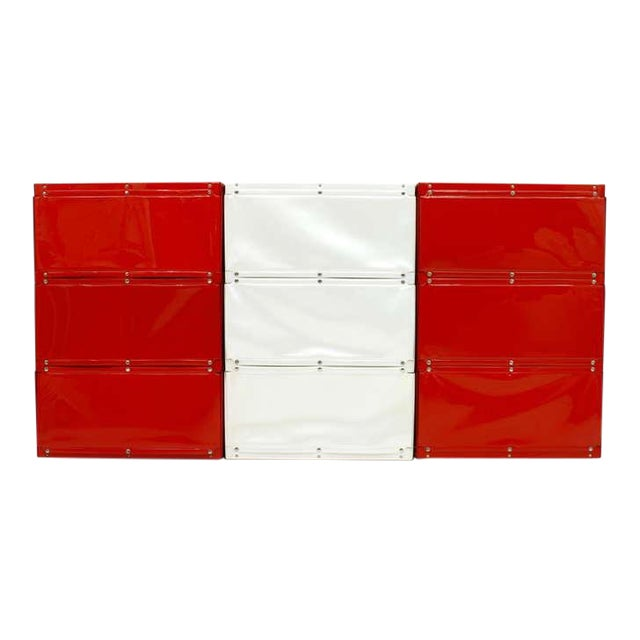 Softline Wall System, Shelf, Bookshelf by Otto Zapf, Germany 1971, Red / White For Sale