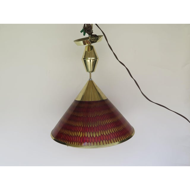 1960s Vintage Lucite and Brass Pendant Light For Sale In Los Angeles - Image 6 of 6