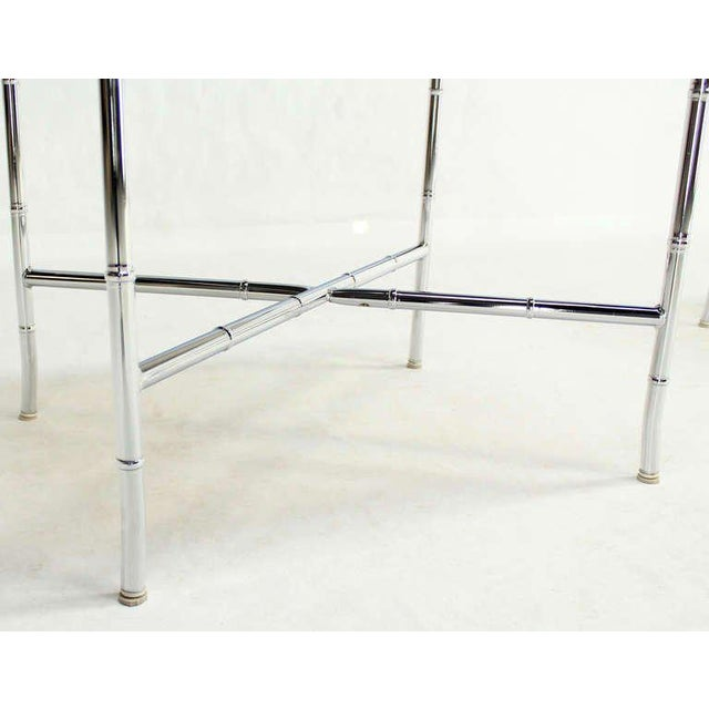 Pair of Faux Bamboo Chrome and Smoked Glass End Tables For Sale - Image 4 of 10