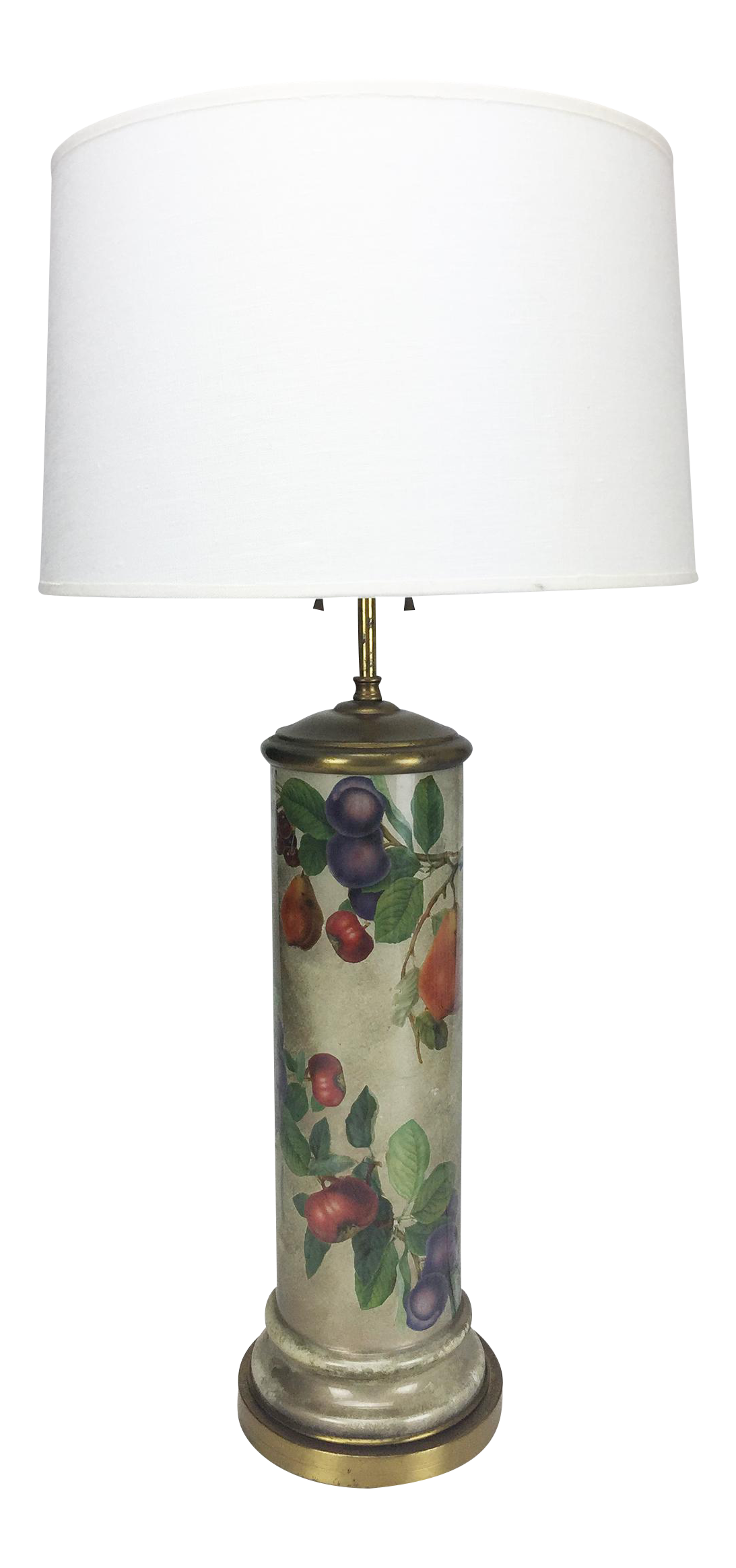 Mid Century Decoupage Silvered Glass Table Lamp Chairish