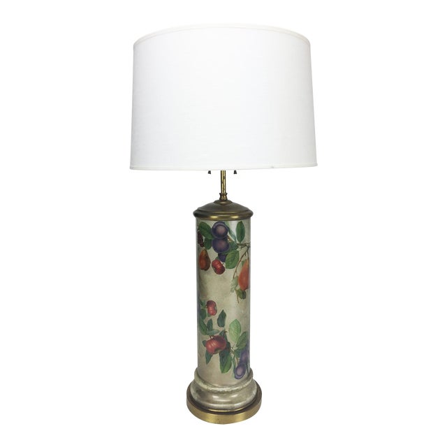 Mid-Century Decoupage Silvered Glass Table Lamp - Image 1 of 8