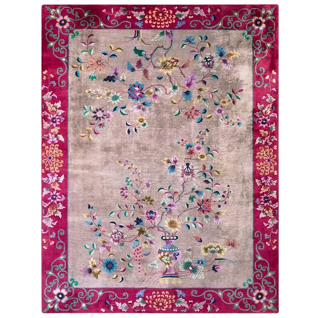 Antique Chinese Art Deco Rug- 8′10″ × 11′8″ For Sale