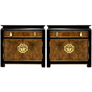1960s Century Furniture Burl Wood Chinoiserie Nightstands - a Pair For Sale