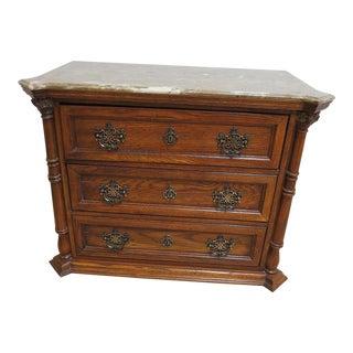 Pulaski Oak Faux Marble Top Chippendale Bachelors Chest Dresser Server Console