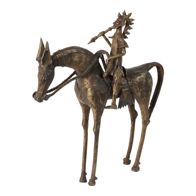 African Brass Sculpture of a Tribal Warrior on Horse For Sale