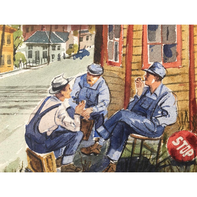 1960s Shooting the Breeze Watercolor by Hal Werneke For Sale - Image 5 of 11