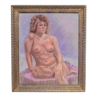 Vintage Framed Pastel Framed Female Nude For Sale