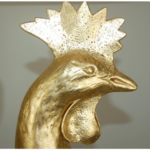 1940s Marbro Italian Metal Rooster Table Lamp Gold For Sale - Image 5 of 11