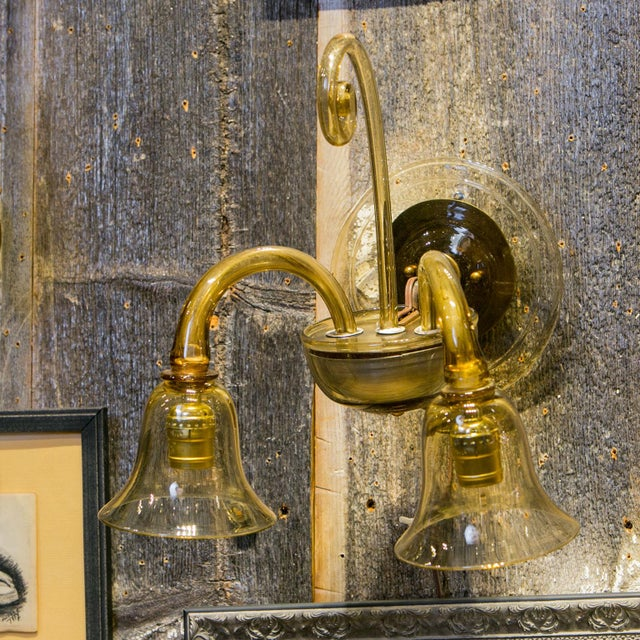 1960s Single Amber-Color Glass Sconce For Sale - Image 5 of 7