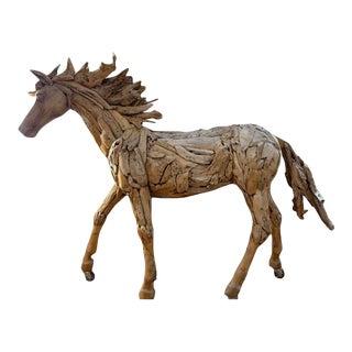 Rustic Handmade Teak Driftwood Horse Statue For Sale