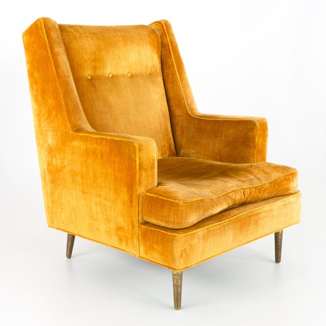 Yellow Mid Century Edward Wormley for Dunbar Chair and Ottoman For Sale - Image 8 of 13