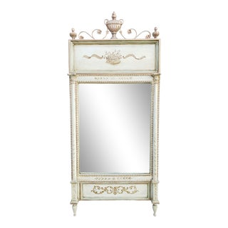 Vintage Handpainted Neoclassical Style Trumeau Mirror by Chapman For Sale