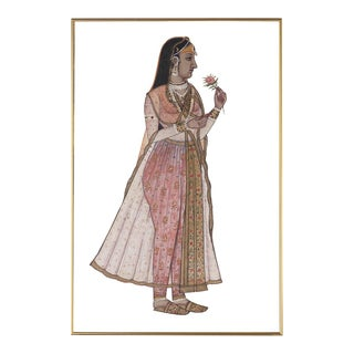 Raja Indian Female Portrait Wall Art, Framed For Sale